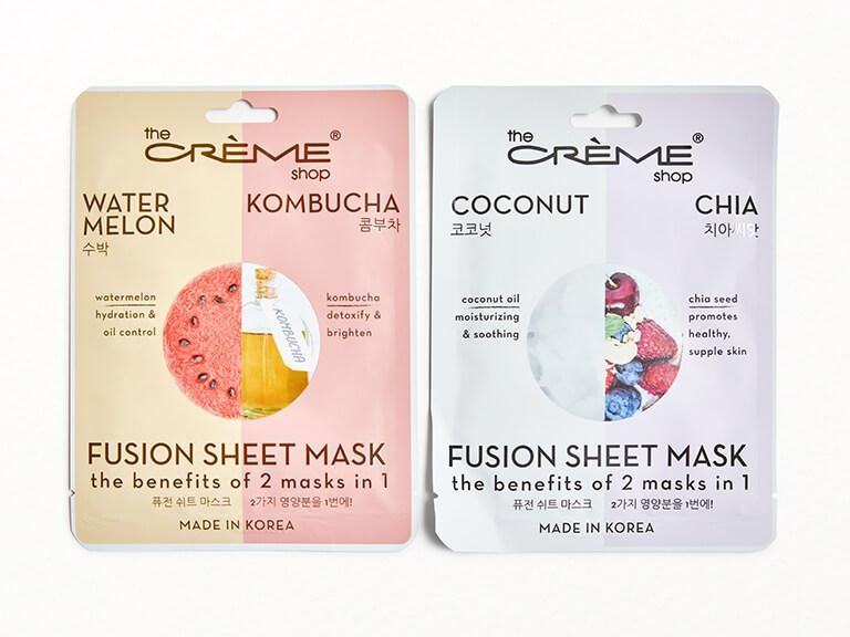 THE CRÈME SHOP Fusion Sheet Mask Duo in Watermelon Kombucha & Coconut Chia