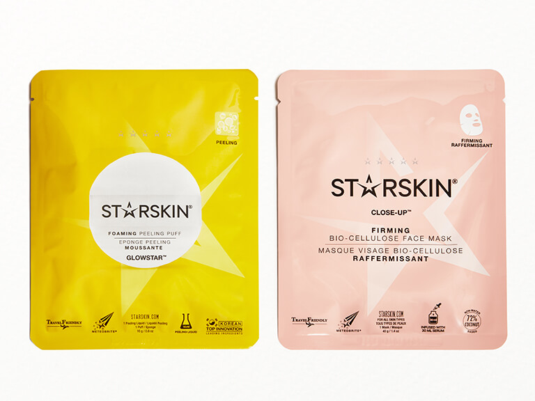 STARSKIN Close-up™ Coconut Bio-Cellulose Second Skin Firming Face Mask & GLOWSTAR™ Foaming Peeling Puff Set