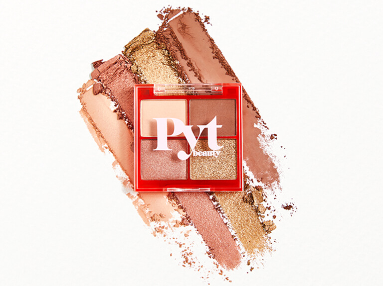 P-Y-T BEAUTY Upcycle Eyeshadow Palette - Warm Lit Nude Mini in Sand Dune, Slow Burn, Bonfire, and Golden Hour