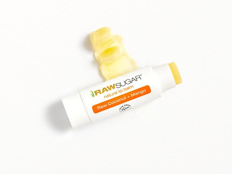 RAW SUGAR LIVING Natural Lip Balm in Raw Coconut + Mango