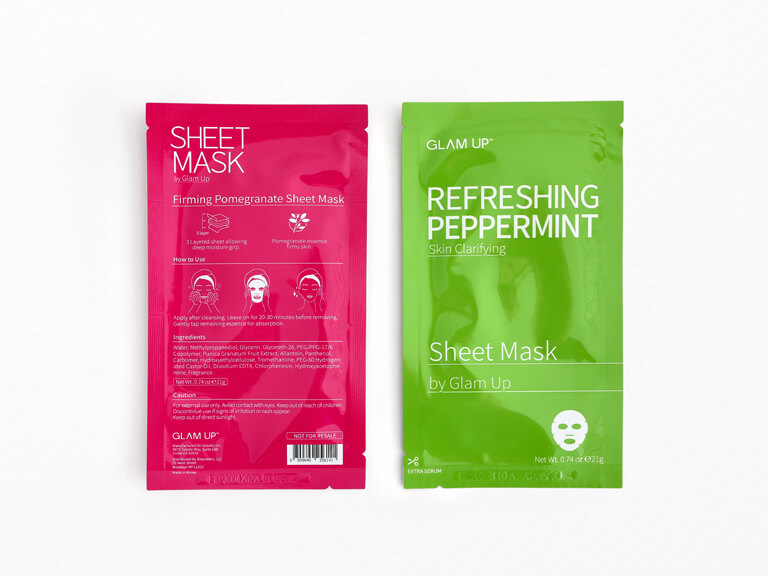 GLAM UP Firming Pomegranate and Refreshing Peppermint Sheet Mask Set