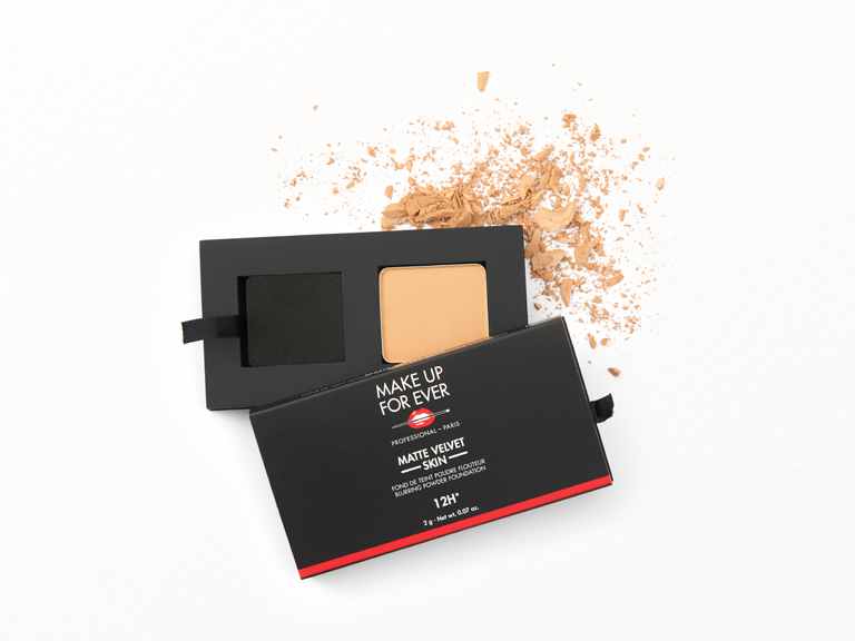 MAKE UP FOR EVER Matte Velvet Skin Blurring Powder Foundation in shade Y245 with swatch