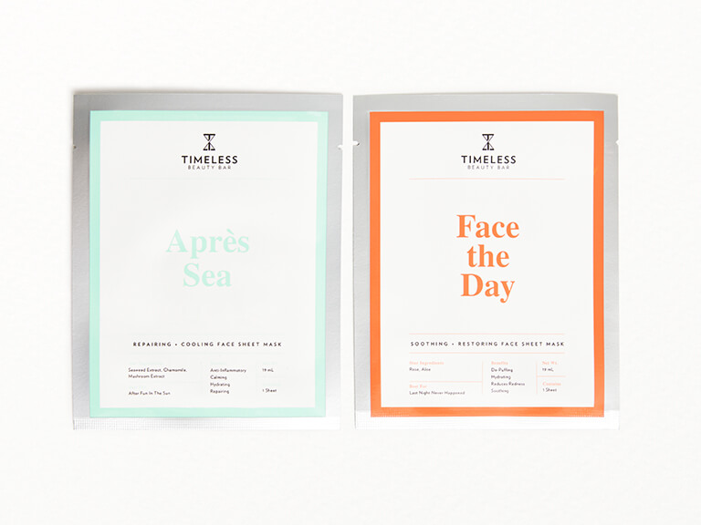 TIMELESS BEAUTY BAR Apres Sea Face Sheet Mask and Face the Day Face Sheet Mask Duo